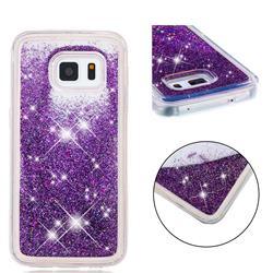 Dynamic Liquid Glitter Quicksand Sequins TPU Phone Case for Samsung Galaxy S5 G900 - Purple