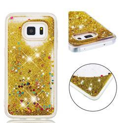Dynamic Liquid Glitter Quicksand Sequins TPU Phone Case for Samsung Galaxy S5 G900 - Golden