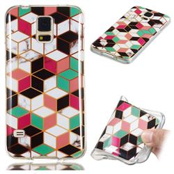 Three-dimensional Square Soft TPU Marble Pattern Phone Case for Samsung Galaxy S5 G900