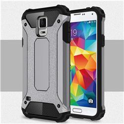 King Kong Armor Premium Shockproof Dual Layer Rugged Hard Cover for Samsung Galaxy S5 G900 - Silver Grey
