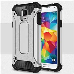 King Kong Armor Premium Shockproof Dual Layer Rugged Hard Cover for Samsung Galaxy S5 G900 - Technology Silver