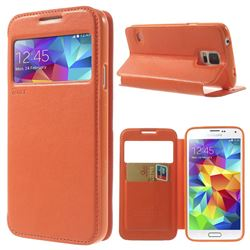 Roar Korea Noble View Leather Flip Cover for Samsung Galaxy S5 G900 - Orange