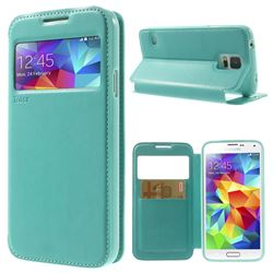 Roar Korea Noble View Leather Flip Cover for Samsung Galaxy S5 G900 - Cyan