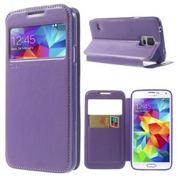 Roar Korea Noble View Leather Flip Cover for Samsung Galaxy S5 G900 - Purple