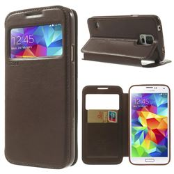 Roar Korea Noble View Leather Flip Cover for Samsung Galaxy S5 G900 - Coffee