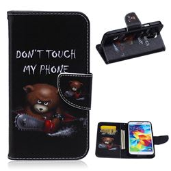 Chainsaw Bear Leather Wallet Case for Samsung Galaxy S5 G900