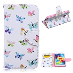 Colored Butterflies Leather Wallet Case for Samsung Galaxy S5 G900