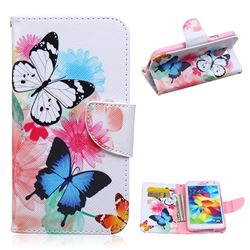 Vivid Flying Butterflies Leather Wallet Case for Samsung Galaxy S5 G900
