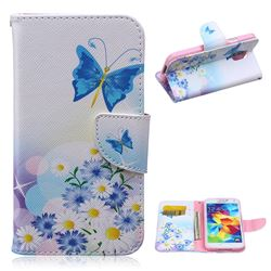 Butterflies Flowers Leather Wallet Case for Samsung Galaxy S5 G900
