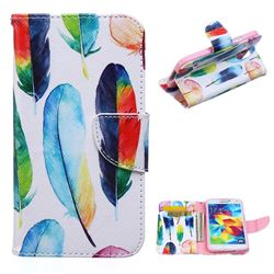 Colored Feather Leather Wallet Case for Samsung Galaxy S5 G900