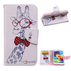 Glasses Giraffe Leather Wallet Case for Samsung Galaxy S5 G900