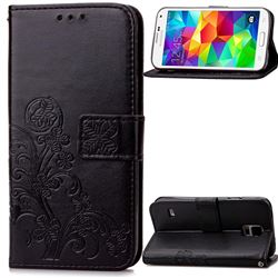 Embossing Imprint Four-Leaf Clover Leather Wallet Case for Samsung Galaxy S5 - Black