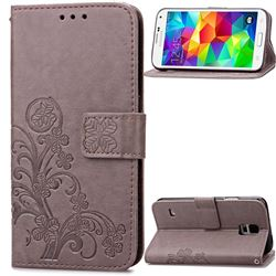 Embossing Imprint Four-Leaf Clover Leather Wallet Case for Samsung Galaxy S5 - Gray