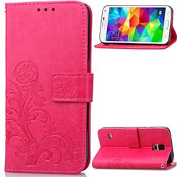 Embossing Imprint Four-Leaf Clover Leather Wallet Case for Samsung Galaxy S5 - Rose