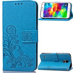 Embossing Imprint Four-Leaf Clover Leather Wallet Case for Samsung Galaxy S5 - Blue
