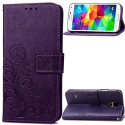 Embossing Imprint Four-Leaf Clover Leather Wallet Case for Samsung Galaxy S5 - Purple