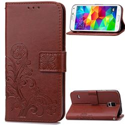 Embossing Imprint Four-Leaf Clover Leather Wallet Case for Samsung Galaxy S5 - Brown