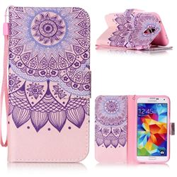 Purple Sunflower Leather Wallet Phone Case for Samsung Galaxy S5