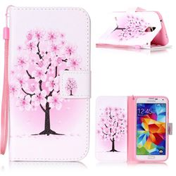 Peach Flower Leather Wallet Phone Case for Samsung Galaxy S5