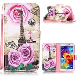 Rose Eiffel Tower Leather Wallet Phone Case for Samsung Galaxy S5