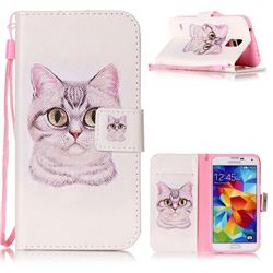 Lovely Cat Leather Wallet Phone Case for Samsung Galaxy S5