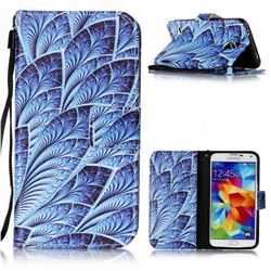 Blue Feather Leather Wallet Phone Case for Samsung Galaxy S5