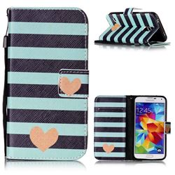 Blue Stripe Heart Leather Wallet Phone Case for Samsung Galaxy S5