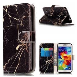 Black Gold Marble PU Leather Wallet Case for Samsung Galaxy S5