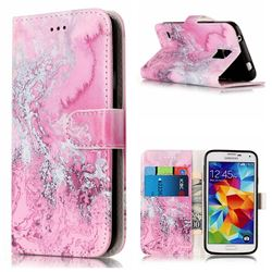 Pink Seawater PU Leather Wallet Case for Samsung Galaxy S5