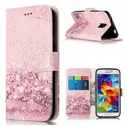 Glittering Rose Gold PU Leather Wallet Case for Samsung Galaxy S5