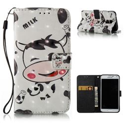 Milk Cow 3D Painted Leather Wallet Case for Samsung Galaxy S5 G900