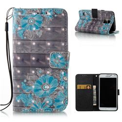 Blue Flower 3D Painted Leather Wallet Case for Samsung Galaxy S5 G900