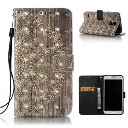 Golden Flower 3D Painted Leather Wallet Case for Samsung Galaxy S5 G900