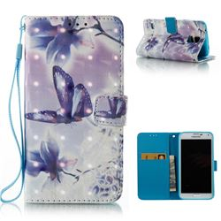Butterfly Flower 3D Painted Leather Wallet Case for Samsung Galaxy S5 G900