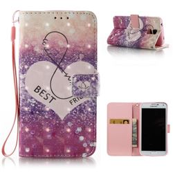Heart Friend 3D Painted Leather Wallet Case for Samsung Galaxy S5 G900