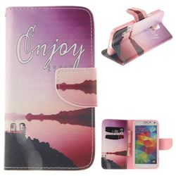 Seaside Scenery PU Leather Wallet Case for Samsung Galaxy S5 G900