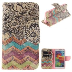 Wave Flower PU Leather Wallet Case for Samsung Galaxy S5 G900
