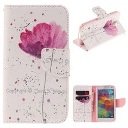 Purple Orchid PU Leather Wallet Case for Samsung Galaxy S5 G900