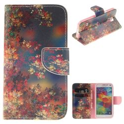 Colored Flowers PU Leather Wallet Case for Samsung Galaxy S5 G900