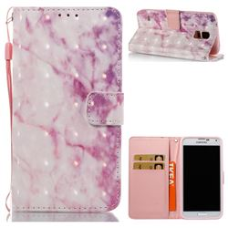 Pink Marble 3D Painted Leather Wallet Case for Samsung Galaxy S5 G900