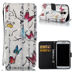 Colored Butterflies 3D Painted Leather Wallet Case for Samsung Galaxy S5 G900