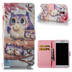 Purple Owl 3D Painted Leather Wallet Case for Samsung Galaxy S5 G900