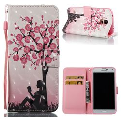 Plum Girl 3D Painted Leather Wallet Case for Samsung Galaxy S5 G900