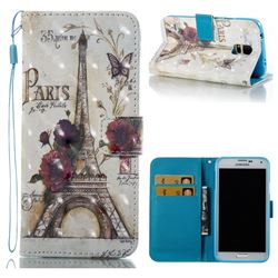 Flower Eiffel Tower 3D Painted Leather Wallet Case for Samsung Galaxy S5 G900