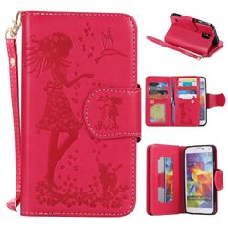 Embossing Cat Girl 9 Card Leather Wallet Case for Samsung Galaxy S5 G900 - Red
