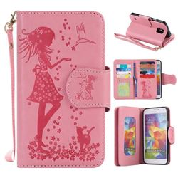 Embossing Cat Girl 9 Card Leather Wallet Case for Samsung Galaxy S5 G900 - Pink