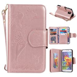Embossing Cat Girl 9 Card Leather Wallet Case for Samsung Galaxy S5 G900 - Rose Gold