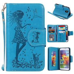 Embossing Cat Girl 9 Card Leather Wallet Case for Samsung Galaxy S5 G900 - Blue