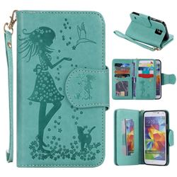 Embossing Cat Girl 9 Card Leather Wallet Case for Samsung Galaxy S5 G900 - Green
