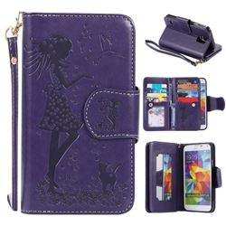 Embossing Cat Girl 9 Card Leather Wallet Case for Samsung Galaxy S5 G900 - Purple